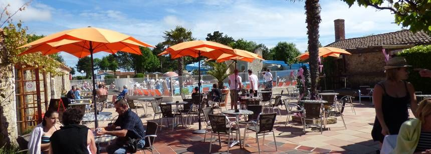 The terrace and pool area at Camping La Loubine, Olonne-sur-Mer, Vendée, France