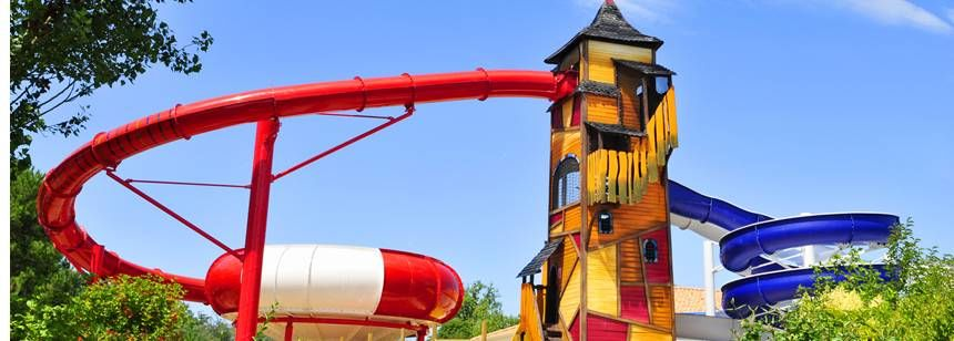 Water Slides and Activities at the Domaine Des Forges Campsite, France