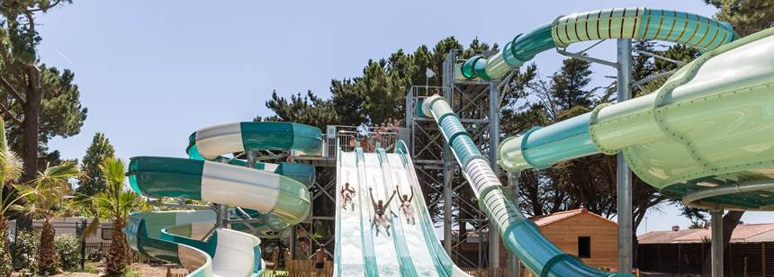 Swimming Pool and Water Slides at the Le Chaponnet Campsite, France