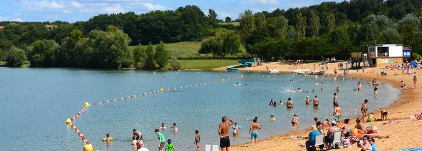 Swimming in the adjacent lake at Lac de St. Cyr, Poitiers, France