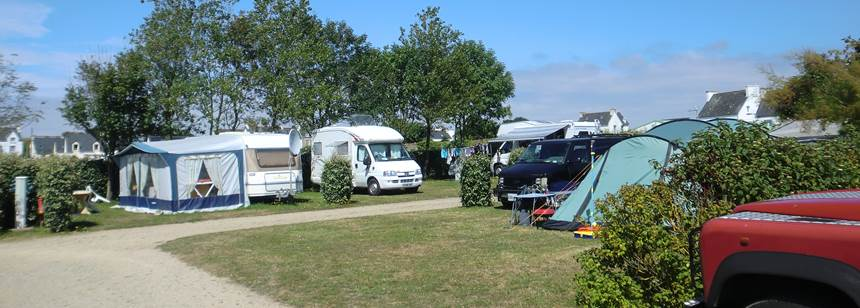 Typical pitches at Camping La Corniche, Brittany, France