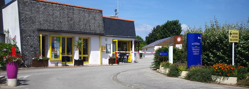 Site entrance and reception at Camping La Corniche, Brittany, France