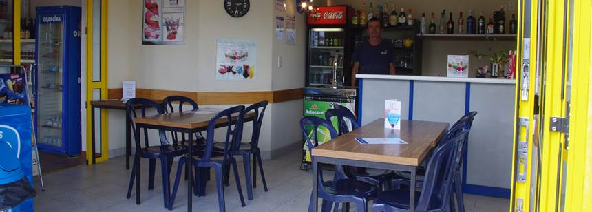 The small and friendly snack bar at Camping La Corniche, Brittany, France
