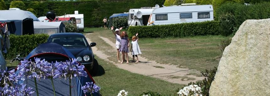 Kids Playing By Their Grass Pitch at the Les Abers Campsite, France