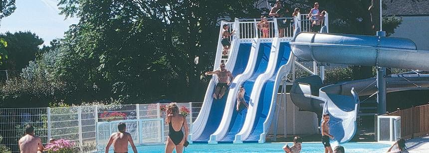Swimming Pool and Water Slides at the Le Raguenès-Plage Campsite, France