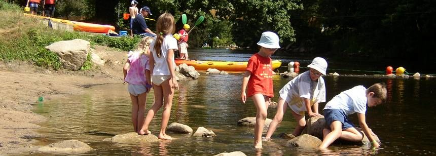 Kids Playing By the River at the Ty-Nadan Campsite, France