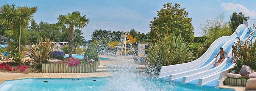 Swimming Pool and Water Slides at the Le P'Tit Bois Campsite, France