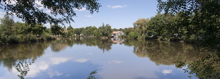 Pretty lakes at Camping La Ferme du Latois, Vendée, France