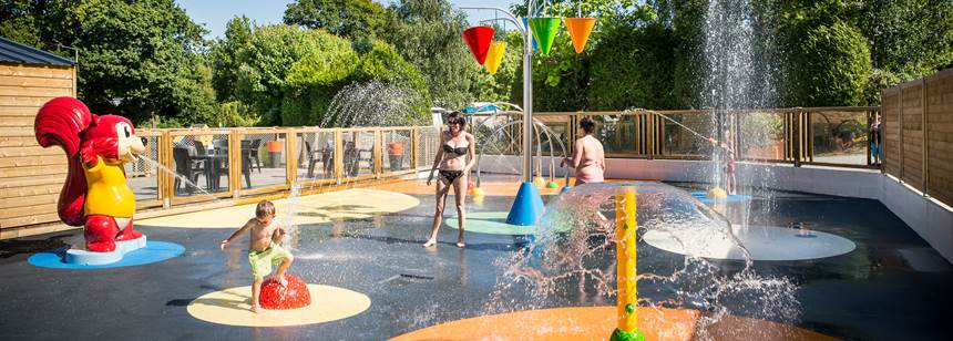 Splashpad fun at Camping La Chenaie, Pornic, France