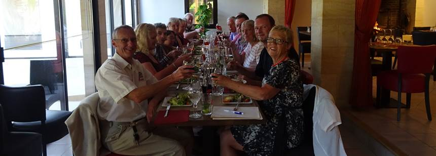 Rally meal at site restaurant at Soleil Plage Rally, Dordogne, France