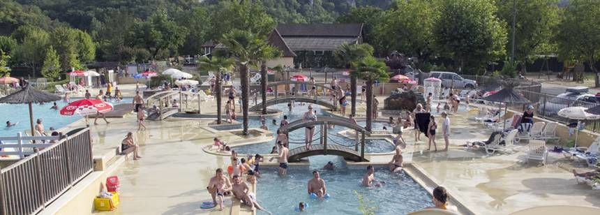 Swimming Pool and Water Slides at the Soleil Plage Rally Campsite, France
