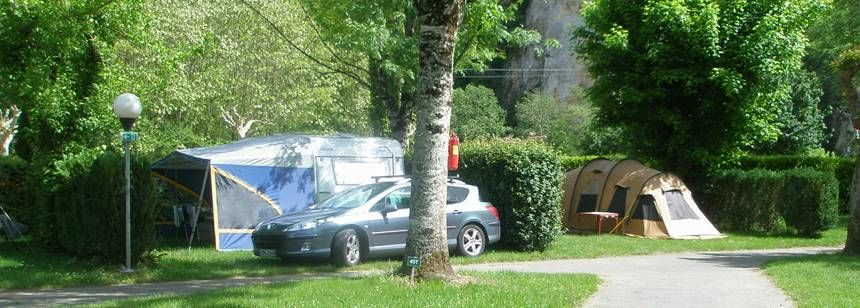 Pitches at Soleil Plage campsite in the Dordogne region of France