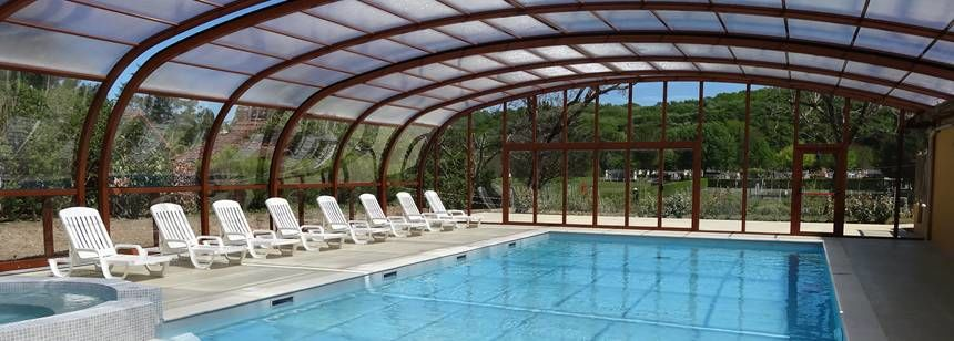 The covered pool at Soleil Plage campsite in the Dordogne region of France
