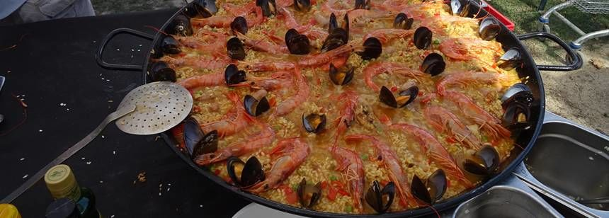 Preparing a paella feast on the rally at Camping Aquarius, Costa Brava