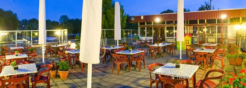 The terrace at Camping Delftse Hout