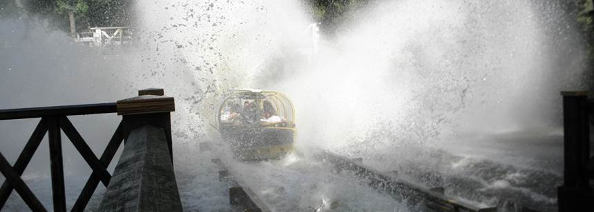 Log flume action at Duinrell theme park, Camping Duinrell, Netherlands