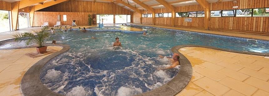 Relax in the indoor pool at Beauregard campsite, Mesnois, France