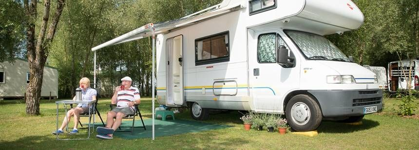 A typical pitch at camping Les Saules, Cheverny, in the Loire Valley, France