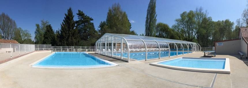 The new pool area at camping Les Saules, Cheverny, in the Loire Valley, France