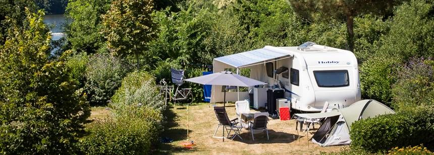 Aerial view of camping Le Pin Parasol, Vendee, France