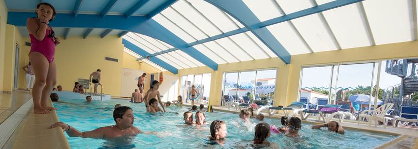 Indoor pool at Camping La Bolée d'Air, Vendée, France