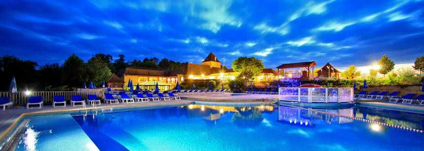 The swimming pools at night, Saint Avit Loisirs, Dordogne/Perigord