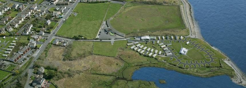 Aerial view of Salthill Caravan Park, Galway (with false sea)