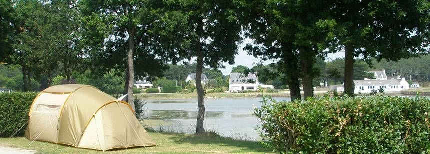 Camping Le Lac, Brittany, a pitch with a view