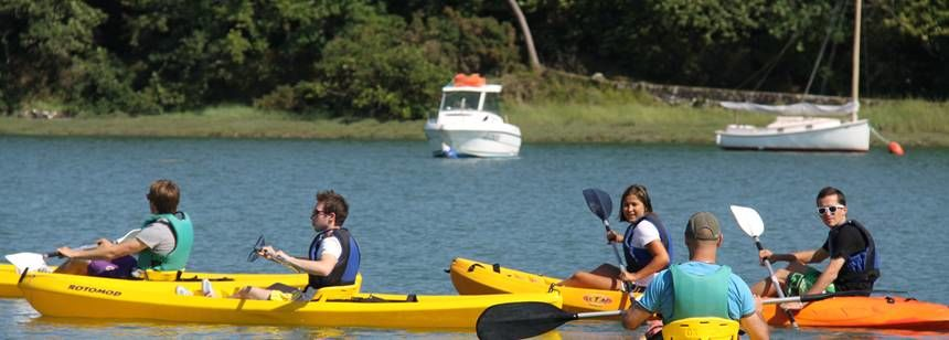 Canoeing at Camping Le Lac, Carnac, South Brittany