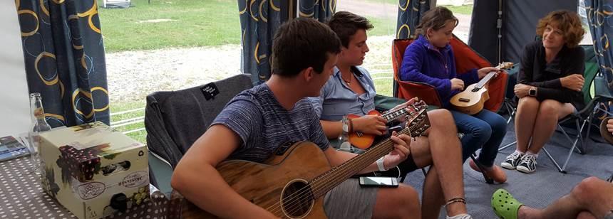 Time for a song at Camping Les Bois du Bardelet, Gien, France