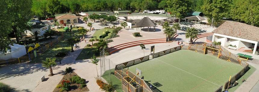 The multi-sports court area at La Yole Wine Resort, Valras-Plage, France