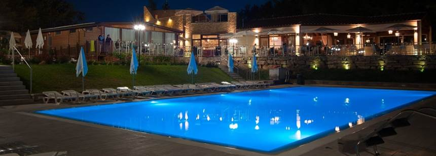 Pool illuminations at night on Camping Orlando in Chianti, Tuscany, Italy