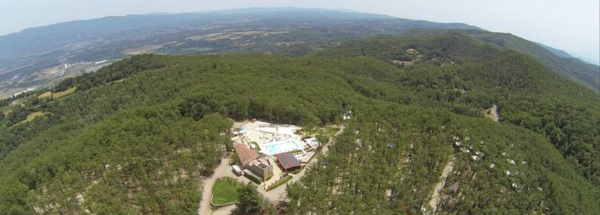 An aerial view of Camping Orlando in Chianti, Tuscany, Italy