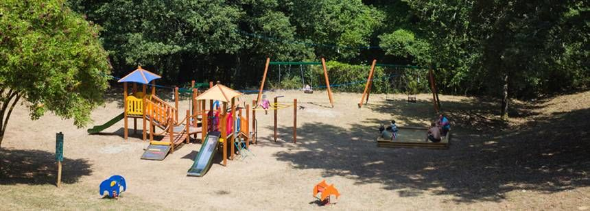 The children's play area at Camping Orlando in Chianti, Tuscany, Italy