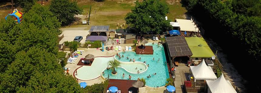 The pool complex at Camping Lac de Sanguinet, Southwest France