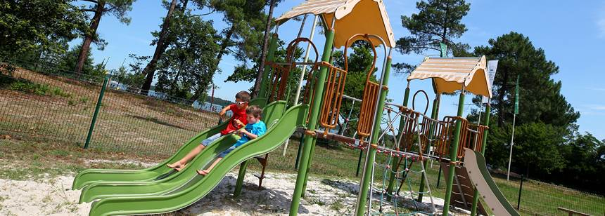 The childrens play area at Camping Lac de Sanguinet, Southwest France