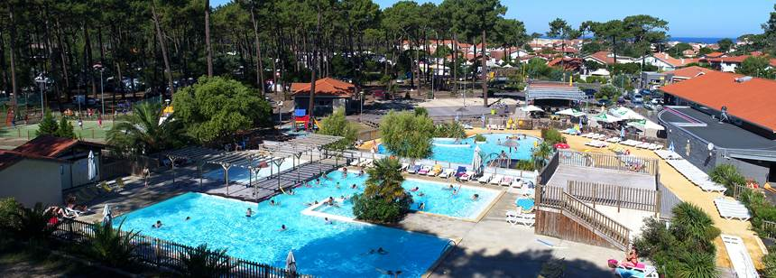 The pool complex at Camping Plage Sud, Southwest France