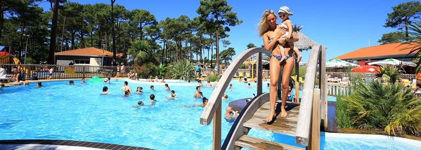 Swimming pool fun at Camping Plage Sud, Southwest France