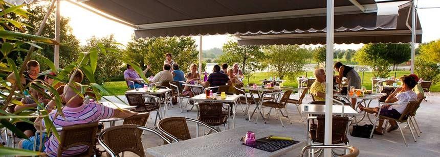 The restaurant terrace at Le Domaine de Louvarel, Burgundy, France