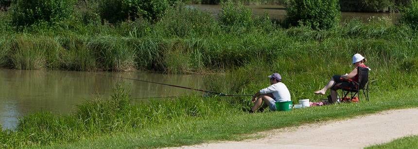 Fishing at the lake at Le Domaine de Louvarel, Burgundy, France