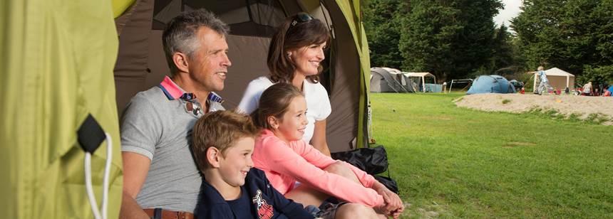 Family camping at Westport House, Co. Mayo