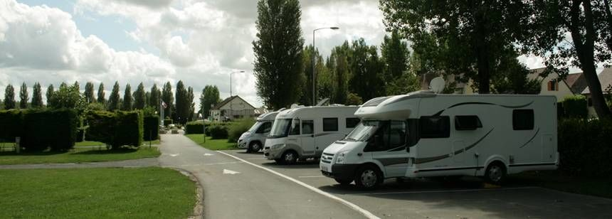 Hardstanding motorhome pitches at Camping Riva Bella, Ouistreham, France