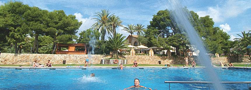 The attractive outdoor pool complex at Vilanova Park, Costa Dorada, Spain