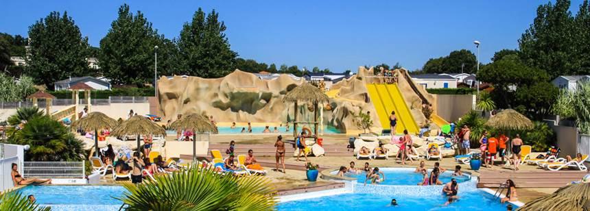 Pool complex at Camping Les Ecureuils, La Bernerie en Retz, France