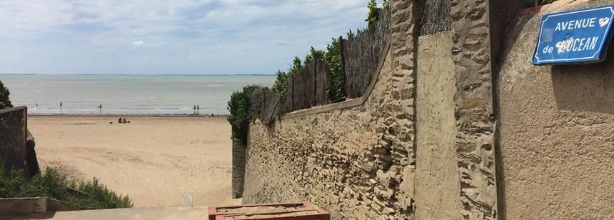 Beach access close to Camping les Ecureuils, La Bernerie en Retz, Loire Atlantique, France
