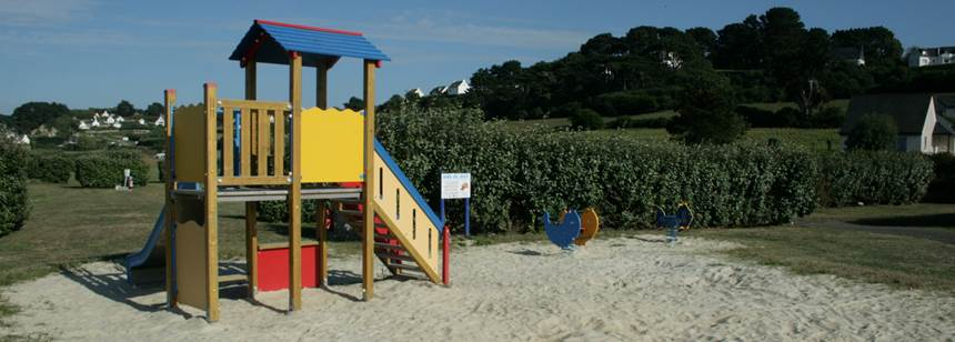 Childrens play area at Camping Les 7 Îles, Trélévern, Brittany, France