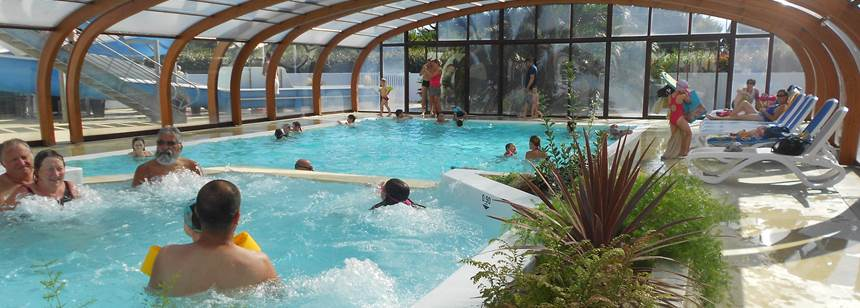 Indoor swimming pool at campsite Les Genêts in Penmarc'h, Brittany, France