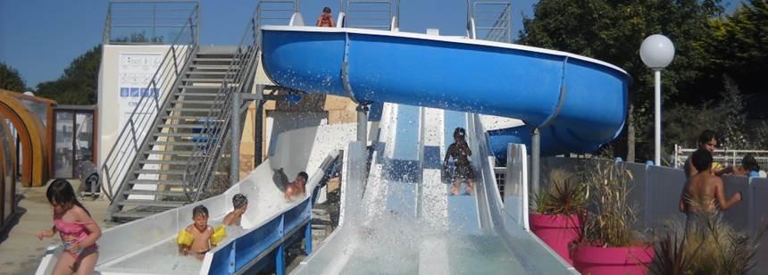 Water slides at campsite Les Genêts in Penmarc'h, Brittany, France