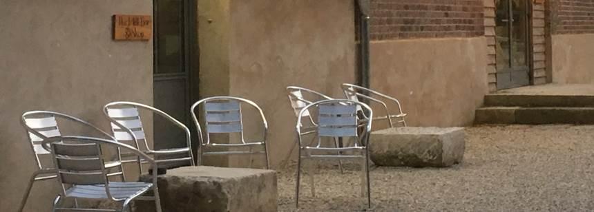 Cosy courtyard at campsite L'Orangerie de Beauregard, between Tours and Blois, Loire Valley, France