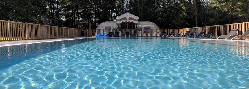Swimming pool at campsite L'Orangerie de Beauregard, between Tours and Blois, Loire Valley, France